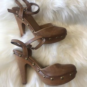 "New ALDO ""Sandford"" brown leather heels. Size 9"